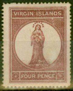 Virgin Is 1867 4d Lake Red Pale Rose Paper SG15 Fine Mtd Mint