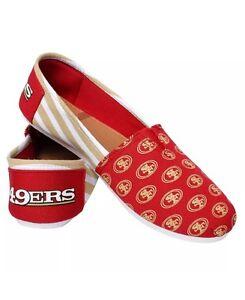 NFL San Franicsco 49ers Ladies Canvas Stripe Shoes Slippers
