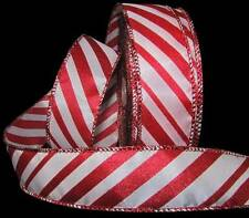 "5 Yds Red White Peppermint Candy Cane Christmas Wired Ribbon 1 1/2""W"