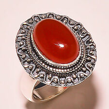CARNELIAN VINTAGE STYLE 925 STERLING SILVER RING SIZE 9 US