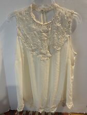 Forever 21 Boho Sheer/Lace White Tank | Size L