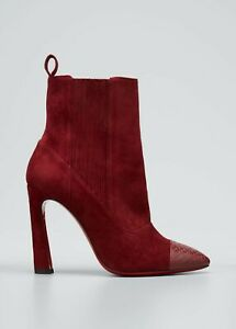 CHRISTIAN LOUBOUTIN Me In The 90s Red Sole Booties Maroon ($1300) w/tax (Size 7)