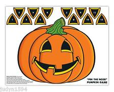 HALLOWEEN PIN THE NOSE ON THE PUMPKIN PIN GAME POSTER BLINDFOLD STICKERS