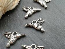 Antique Silver Mini Hummingbird Charms 25pcs Design 2 Vintage Pendants Kitsch