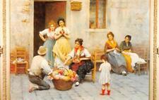 """VENETIAN FLOWER VENDOR De Blaas Painting """"Haussner's Restaurant"""" c1950s Postcard"""