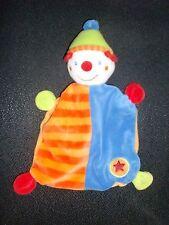doudou plat clown bleu orange rouge vert étoile BABY CLUB C&A (2 dispo)
