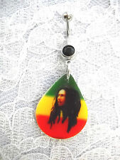 BOB MARLEY PICTURE DROPLET LONG HAIR RASTA COLORS ON BLACK CZ BELLY BUTTON RING