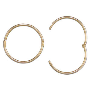 9ct Gold 12mm Mens Hinged Hoop Sleeper Earring - 1 Earring