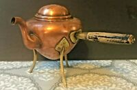 19th Century Antique Copper and Brass Teapot with Wooden Handle