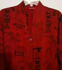 Tianello Women's Medium Red Eqyptian Print Long Button Split Tunic Top