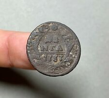 Denga 1737, an old copper coin, found in the ground, authentic.