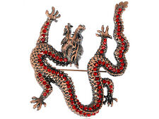 Marvelous Ruby Red Crystal Chic Reproduct Dragon Fly Animal Brooch Pin Fashion