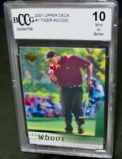 BCCG 10 Mint+ 2001 Upper Deck TIGER WOODS Rookie Golf Card #1 PGA Tour RC