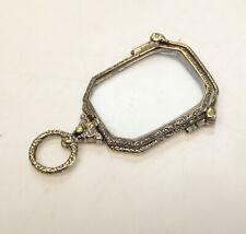 14k White Gold Antique Lorgnette folding opera glasses, filigree design