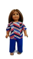 "Patriotic Scrubs fits American Girl 18"" Doll Clothes Red White Blue"