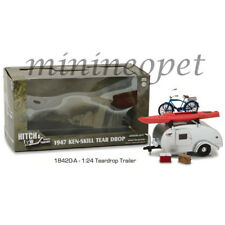 GREENLIGHT 18420 A 1947 KEN SKILL TEAR DROP TRAILER 1/24 DIECAST MODEL SILVER