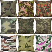 "18"" Camouflage Print Cotton Linen Sofa Home Decor pillow case Cushion Cover"
