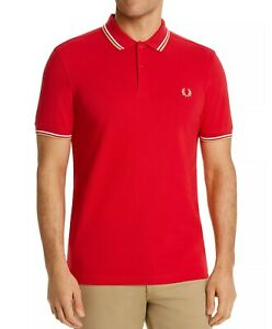 Fred Perry Men's Short Sleeve M3600 Twin Tipped Polo Shirt Red/White/Champagne
