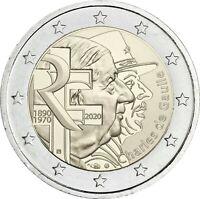 Frankreich 2 Euro 2020 bfr Charles de Gaulle Gedenkmünze bankfrisch