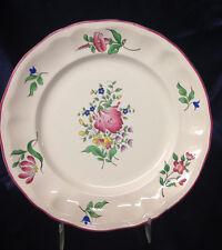 """LUNEVILLE FRANCE K & G OLD STRASBOURG SALAD PLATE 7 7/8"""" FLOWERS PINK TRIM """"B"""""""