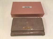 Miu Miu Grey Crocodile-Embossed Patent Leather Trifold Wallet