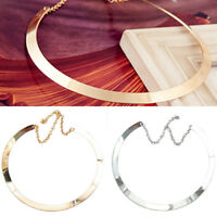 WO_ MIRRORED COLLAR NECKLACE METAL CHOKER GOLD SILVER PLATED CIRCLE JEWELRY STRI