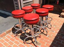 "6 Same Mid-Century Dura Chrome Heavy well Made 31"" Stools -Great Retro Look Nice"