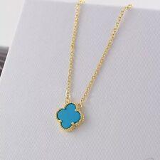Collier  Pendantif Court Trèfle Doré Acier Inox Nacre Bleu Turquoise 14mm TRB1