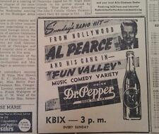 JUNE 10, 1944 NEWSPAPER PAGE #J5860- DR PEPPER- SUNDAY'S RADIO HOLLYWOOD HIT