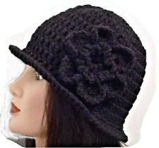 LADIES WINTER CHUNKY CLOCHE HAT black floral warm bucket Gatsby woman's beanie