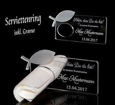1 Serviettenring inkl. Wunschgravur Kommunion Konfirmation Taufe - Fisch
