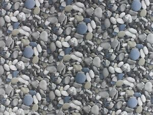 Beach PEBBLE COBBLE Curtain Upholstery Cotton Fabric Material -280cm extra wide