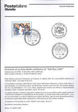 ITALIA 2002 TELETHON  BOLLETTINO COMPLETO DI FRANCOBOLLI FDC