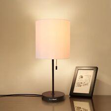 HAITRAL Table Lamp Metal Basic Modern Desk Lamp Fabric Shade Minimalist Bedroom