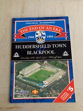More details for 1908-1994 huddersfield town v blackpool last game at leeds road programme vgc
