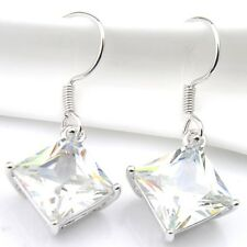 Dazzling Party Use Woman Square White Fire Topaz Gems Silver Dangle Earrings