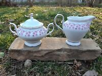 Vintage Winterling Schwarzenbach Bavaria Pink Rings Creamer & Lidded Sugar Bowl