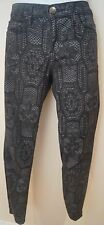 Current Elliott Antracite Nero alla Caviglia Jeans Skinny all'uncinetto Pantaloni Pants 27