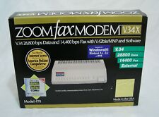 External Zoom Fax Modem 470 V34X 28,800bps Data - Excellent, In Box