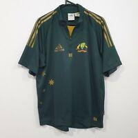 Vintage Adidas Cricket Australia ODI T20 Green & Gold Shirt Jersey Size Large