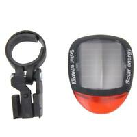 2 LED Red Bike Bicycle Solar Energy Rechargeable Red Tail Rear Light Flash #JT1