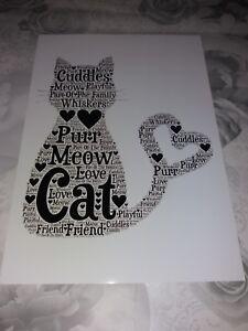 Word Art Pet cat Animal Memory Print Gift