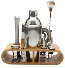 780ml/600ml Stainless Steel Bar Cocktail Shaker With Wooden Rack