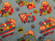 Teddy Bears Toy Cars Trains Boats Cotton Blue Fabric by the Yard