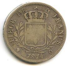FRANCE LOUIS XVIII 5 FRANCS ARGENT BUSTE HABILLÉ 1814 Q PERPIGNAN