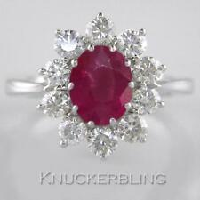 Ruby and F VS Brilliant Cut Diamond Ring in 18ct White Gold, 2.50 Carat