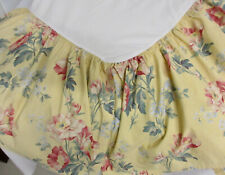 Ralph Lauren Pink Tulip Floral Yellow Background Queen Cotton Bed Skirt