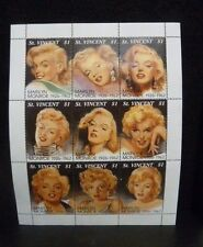 MARILYN MONROE ST. VINCENT $1 STAMP SHEET OF 9 STAMPS - 99 FACTS - NEW W/COA