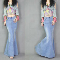 Women Fashion Slim Denim Jeans Fishtail Skirt Trendy Long Skirt Retro Maxi Dress