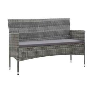 3 Seater Garden Sofa With Cushions Grey Poly Rattan
